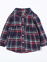 Baby Casual/Daily Houndstooth Shirt-Cotton-Fall-Blue