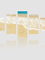 JAMMORY Canvas Set Landscape Modern,Five Panels Gallery Wrapped, Ready To Hang Vertical Print No Frame Beach