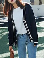 Damen Standard Strickjacke-Lässig/Alltäglich Street Schick Solide Blau V-Ausschnitt Langarm Acryl Herbst Mittel