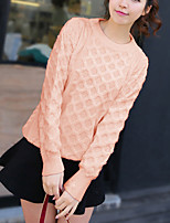 Women's Casual/Daily Street chic Regular Pullover,Solid Pink / White Round Neck Long Sleeve Acrylic Fall Medium Micro-elastic