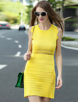 Boutique S Women's Going out Cute Bodycon Dress,Solid Round Neck Above Knee Sleeveless Yellow Others Spring
