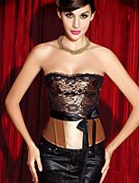 Serre Taille / Corset Vêtement de nuit Femme,Lace / Imprimé Imprimé-Moyen Polyester Blanc / Violet / Or / Rouge Aux femmes