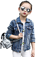 Girl's Cotton Spring/Autumn Fashion Embroidered Casual Long Sleeve Cowboy Jacket Denim Coat
