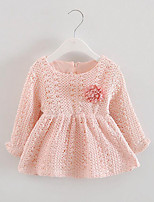 Girl's Casual/Daily Solid Dress,Cotton / Polyester Spring / Fall Pink / Beige