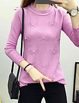 Damen Standard Pullover-Lässig/Alltäglich Einfach / Street Schick Solide Weiß / Schwarz / Grau / Lila Rundhalsausschnitt Langarm Nylon