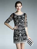 Boutique S Women's Casual/Daily Vintage Shift Dress,Embroidered Round Neck Above Knee ½ Length Sleeve Polyester Fall