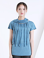 YI SHI DIAN Women's Casual/Daily Sexy Summer T-shirt,Solid Round Neck Short Sleeve Blue / Red Polyester Thin