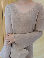 Women's Going out / Casual/Daily Simple RegularSolid Brown V Neck Long Sleeve Cotton Fall Medium