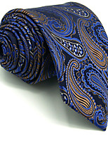 Men's Tie Paisley Blue 100% Silk Necktie Jacquard Woven Business Casual For Men