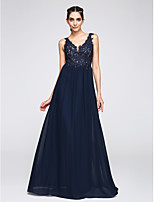 TS Couture® Formal Evening Dress A-line V-neck Floor-length Chiffon with Appliques
