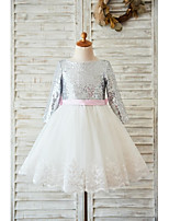 A-line Knee-length Flower Girl Dress - Lace / Tulle / Sequined Long Sleeve Jewel with Bow(s) / Lace / Sash / Ribbon