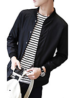 Men's New Korean Style Slim Hooded Long Sleeve Casual / Sport Jacket,Polyester Solid Black / Blue