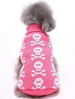 2016 New Autumn and Winter Christmas Halloween Skulls Pink Black Blue Grey Dog Sweater Dog Clothes for Pet Dogs