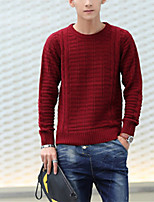 Men's Solid Casual Pullover,Cotton Long Sleeve Black / Blue / Red / White