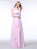 Floor-length Chiffon Bridesmaid Dress A-line Strapless with Crystal Detailing / Ruffles