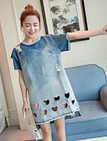 Women's Plus Size / Casual/Daily / Beach Simple / Cute Shift / Denim Dress