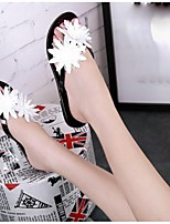 Women's Sandals Summer Sandals PVC Casual Flat Heel Flower Black / Champagne Others
