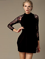 Women's Plus Size / Casual/Daily Sophisticated Sheath Dress,Solid Stand Above Knee Long Sleeve Red / Black Polyester