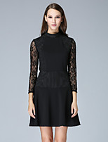 Boutique S Women's Casual/Daily Sexy A Line Dress,Patchwork Crew Neck Above Knee ¾ Sleeve Black Polyester Fall