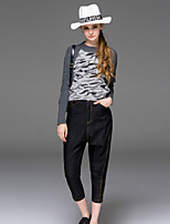 Boutique S Women's Going out Street chic Fall Set Pant,Print Round Neck Long Sleeve Gray Cotton / Polyester Opaque