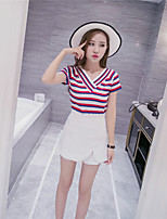 Women's Casual/Daily Simple Short Pullover,Striped Red / Black V Neck Short Sleeve Cotton Fall Medium