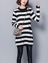 Women's Going out / Casual/Daily Simple / Street chic Long Pullover,Striped Black Round Neck Long Sleeve Cotton