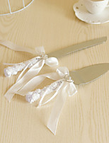 Wedding Accessories Lace Handle Cake Knife And Server Serving Set with Crystal Heart,White