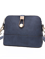 Women PU Casual Matte Solid Color Clasp Lock  Shell Package Shopping Shoulder  Cosmetic Saddle Bags