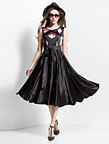 BORME® Femme Col Arrondi Sans Manches Mollet Robes-Z104A