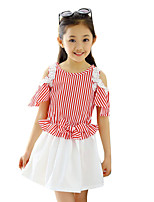 Girl's Casual/Daily Striped DressPolyester Summer Black / Red