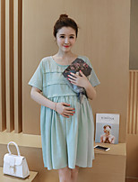 Maternity Casual/Daily Simple Loose Dress,Solid Round Neck Above Knee Short Sleeve Green Polyester Summer