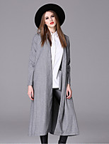 Women's Casual/Daily Simple Trench Coat,Solid Stand Long Sleeve Fall / Winter Gray Spandex Medium