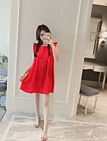 Maternity Casual/Daily Cute Loose Dress,Solid Round Neck Above Knee Sleeveless Pink / Red Cotton Summer