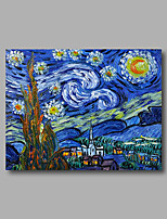 Stretched (Ready to hang) Hand-Painted Oil Painting Canvas Abstract Van Gogh repro Starry Night Mini Size
