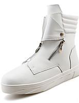 Черный / Красный / Белый-Мужской-Для прогулок-Дерматин-На плоской подошве-Модная обувь-Ботинки