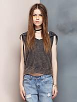 Herz Soul® Damen Rundhalsausschnitt Ärmellos T-Shirt Grau-20A1AS4573