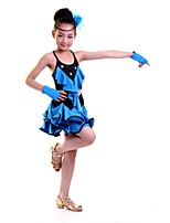 Latin Dance Dresses Children's Performance Polyester Sequins 1 Piece Latin Dance Sleeveless Natural Dress