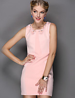 Boutique S Women's Going out Street chic Sheath Dress,Solid Round Neck Mini Sleeveless Pink / White / Green  Summer