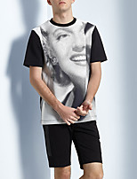 Men's Print Casual T-ShirtPolyester Short Sleeve-Black