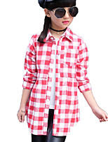 Girl's Casual/Daily Plaid Shirt / Blouse,Cotton / Others Spring / Fall Black / Red