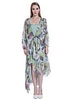 ADEAST Women's Going out / Casual/Daily / Beach Street chic Loose Dress,Rainbow Crew Neck Midi Long Sleeve Multi-