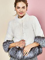 Women's Plus Size / Casual/Daily / Party/Cocktail Sexy / Simple Fur Coat,Color Block Stand ¾ Sleeve Fall /