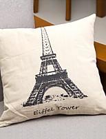 Coton/Lin Housse de coussin,Tour Eiffel Décontracté