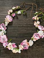 成人用 ファブリック かぶと-結婚式 ティアラ 1個 ピンク 花型 50cm