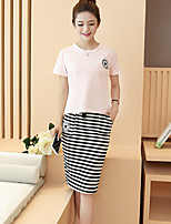 Maternity Going out / Casual/Daily Simple Two Piece Dress,Striped Round Neck Summer