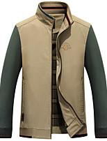 Men's Long Sleeve Casual / Work / Formal Jacket,Polyester Solid Green / Beige
