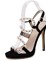 Women's Sandals Summer Sandals PU Casual Stiletto Heel Beading Black Others