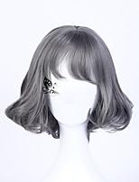 peluca corta bob peluca gris corta 2016 de la moda de la peluca del partido de Cosplay peluca de pelo bob peluca ondulada gris para la