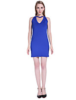 Women's Going out / Casual/Daily Sexy Bodycon Dress,Solid Halter Above Knee Sleeveless Blue Spandex Summer / Fall
