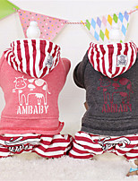 Dog Hoodie Red / Gray / Coffee Winter / Spring/Fall Stripe / Animal Casual/Daily Dog Clothes / Dog Clothing-Other